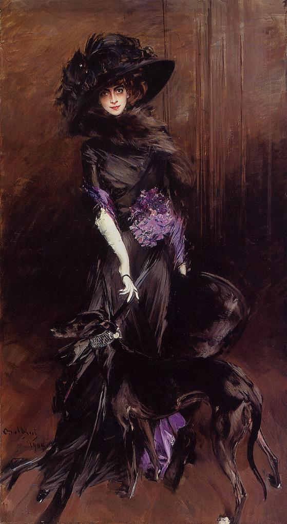 Portrait of the Marchesa Luisa Casati with a Greyhound 1908 | Giovanni Boldini | Oil Painting