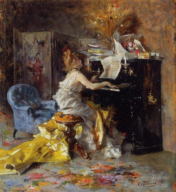Woman at a Piano 1871-1879 | Giovanni Boldini | Oil Painting