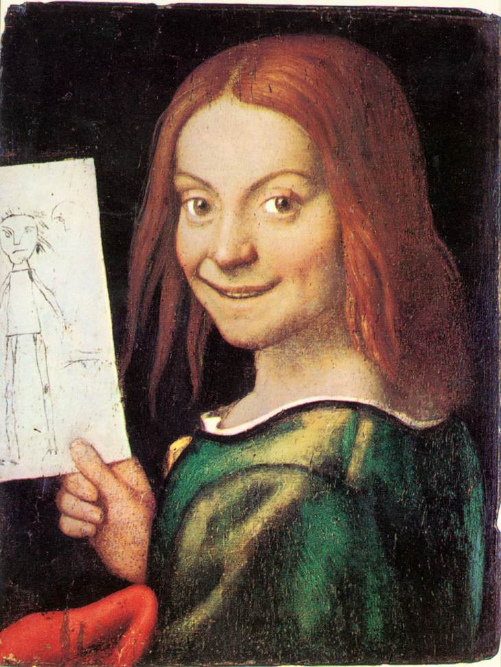 Read Headed Youth Holding A Drawing | Giovanni Francesco Caroto | Oil Painting