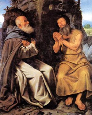 St Anthony Abbot And St Paul 1510 | Giovanni Grolamo Savoldo | Oil Painting