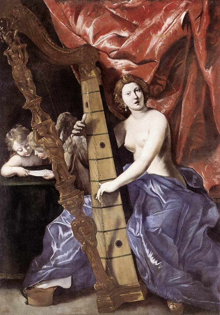 Venus Playing The Harp (Allegory Of Music) 1630-34 | Giovanni Lanfranco | Oil Painting