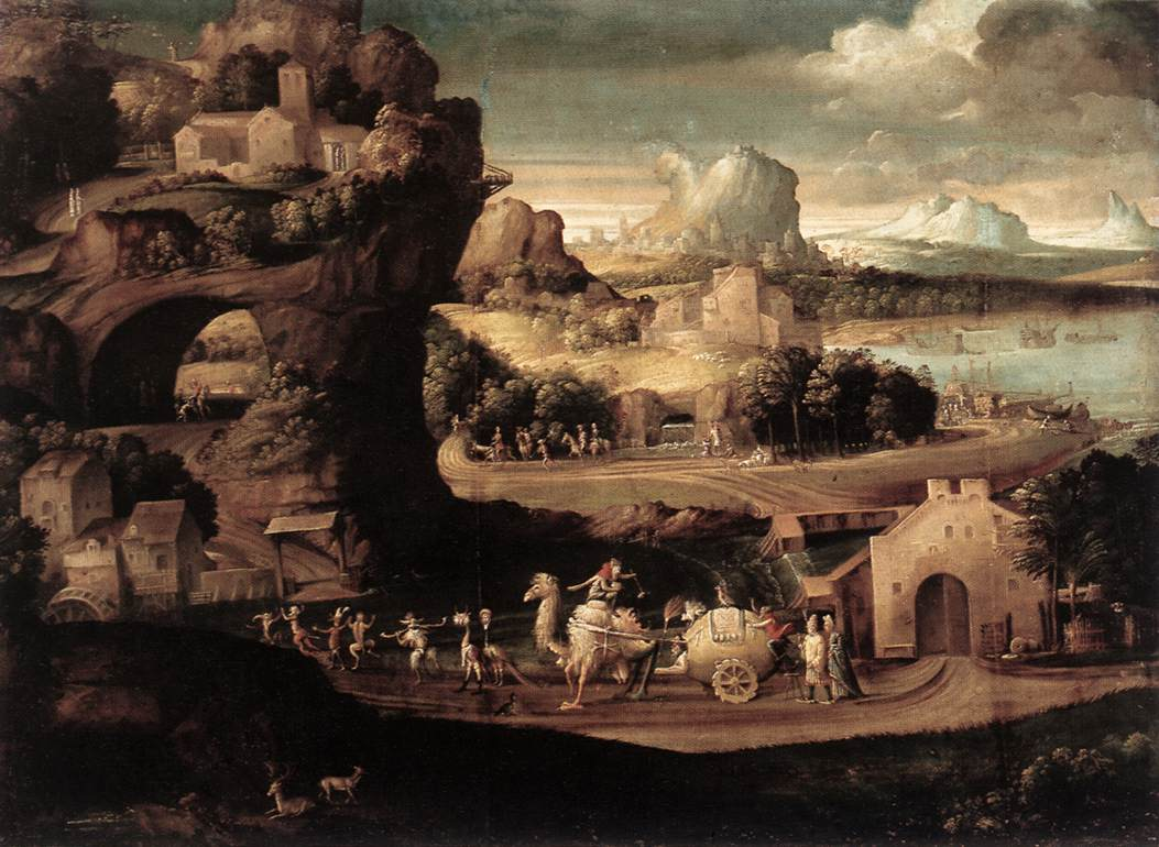 Landscape With Magicians 1525 | Girolamoda Carpi | Oil Painting