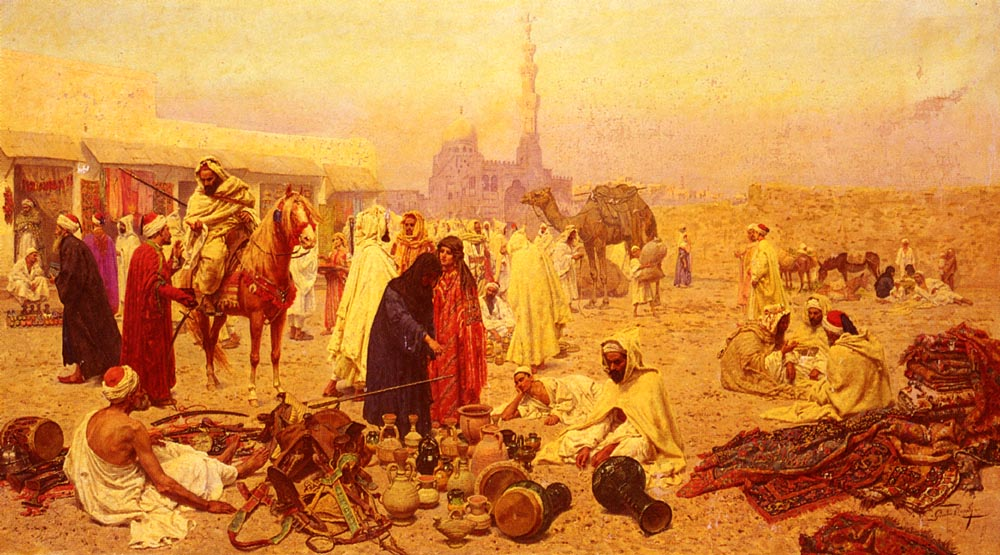 An Arabian Market | Giulio Rosati | Oil Painting