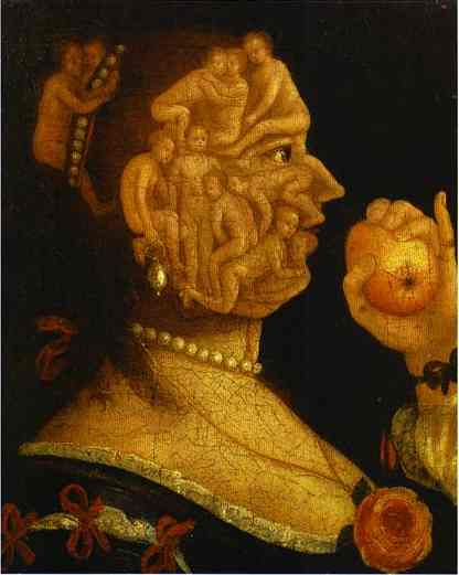 Eve And The Apple With Counterpart 1578 | Giuseppe Arcimboldo | Oil Painting