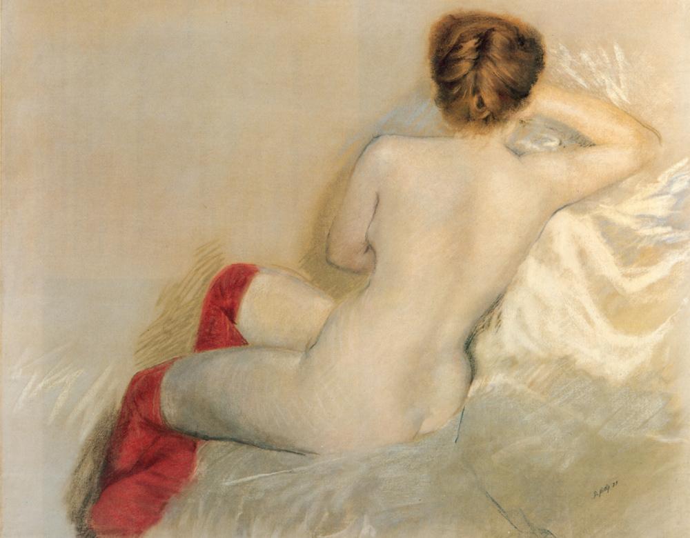 Nudo con le Calze Rosse | Giuseppe De Nittis | Oil Painting