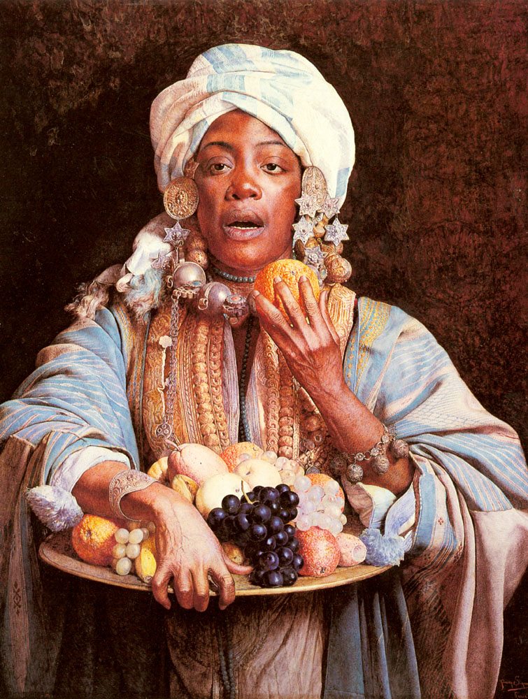 A North African Fruit Vendor | Giuseppe Signorini | Oil Painting