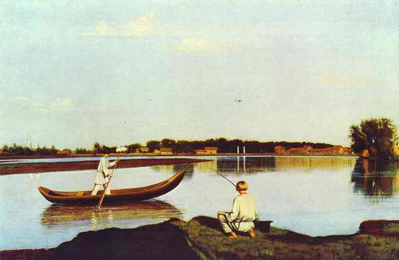 Fishermen A View In The Estate Of Spasskoe 1840s | Grigoriy Soroka | Oil Painting