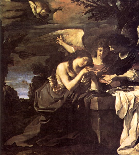 Magdalen And Two Angels 1622 | Guercino | Oil Painting