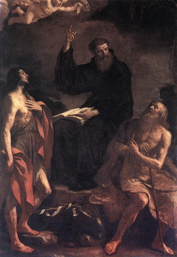 St Augustine St John The Baptist And St Paul The Hermit | Guercino | Oil Painting