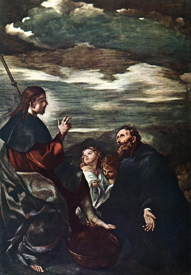 St Augustine Washing The Feet Of The Redeemer | Guercino | Oil Painting