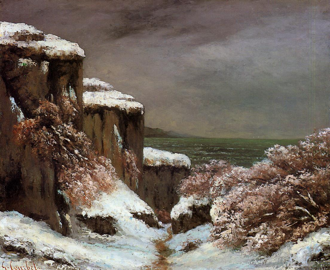 Cliffs by the Sea in the Snow 1870 | Gustave Courbet | Oil Painting