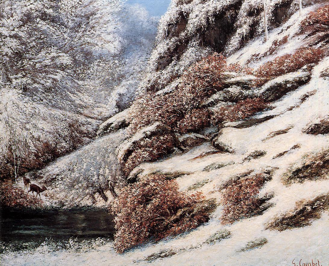 Deer in a Snowy Landscape 1867 | Gustave Courbet | Oil Painting
