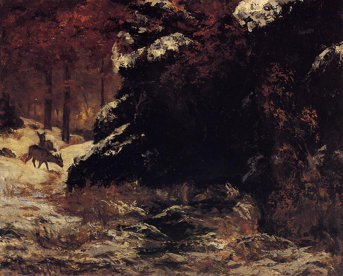 Deer in the Snow 1865-1867 | Gustave Courbet | Oil Painting