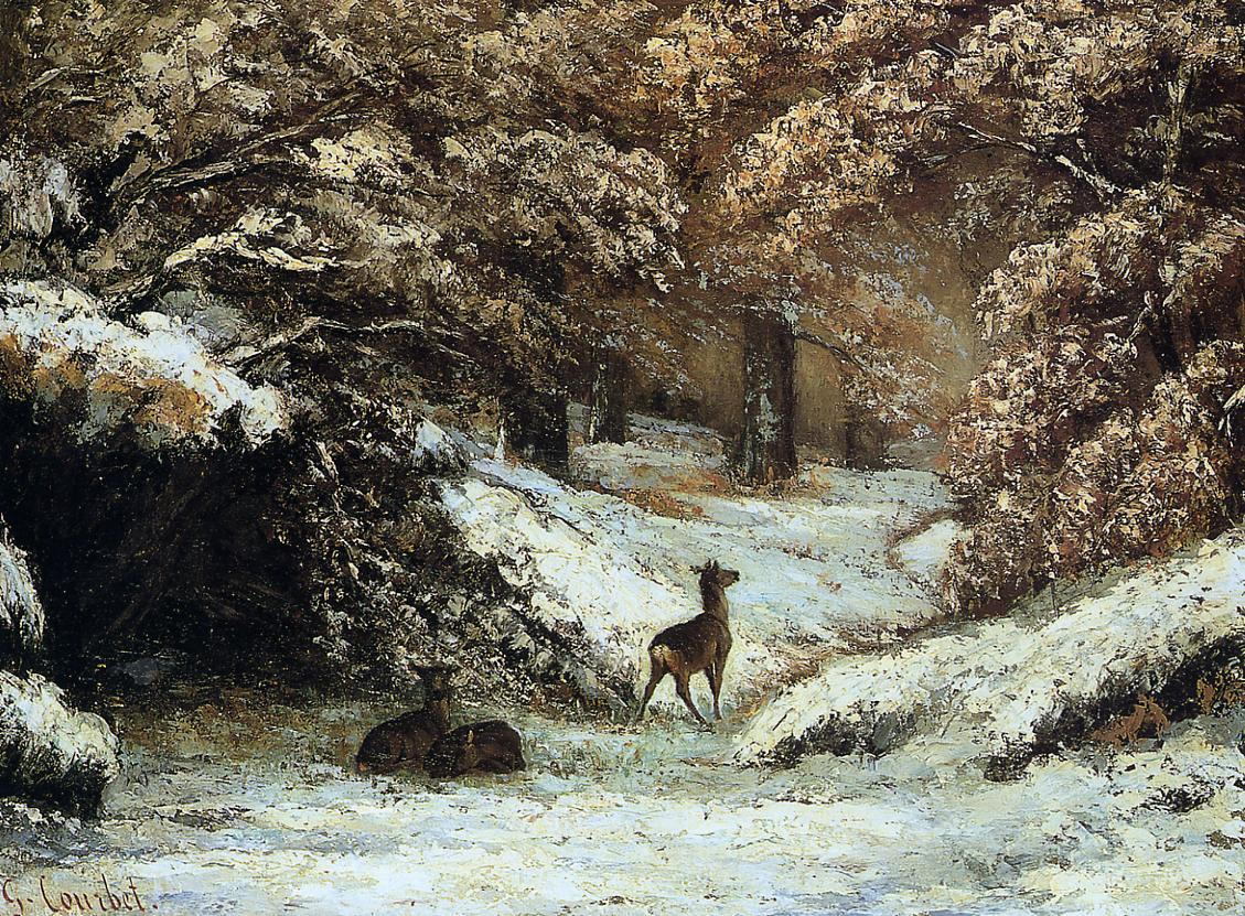 Deer Taking Shelter in Winter 1866 | Gustave Courbet | Oil Painting