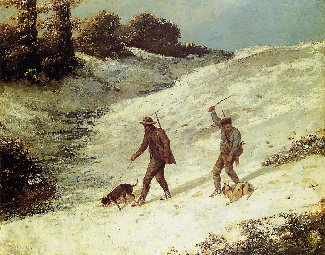 Poachers in the Snow 1867 | Gustave Courbet | Oil Painting