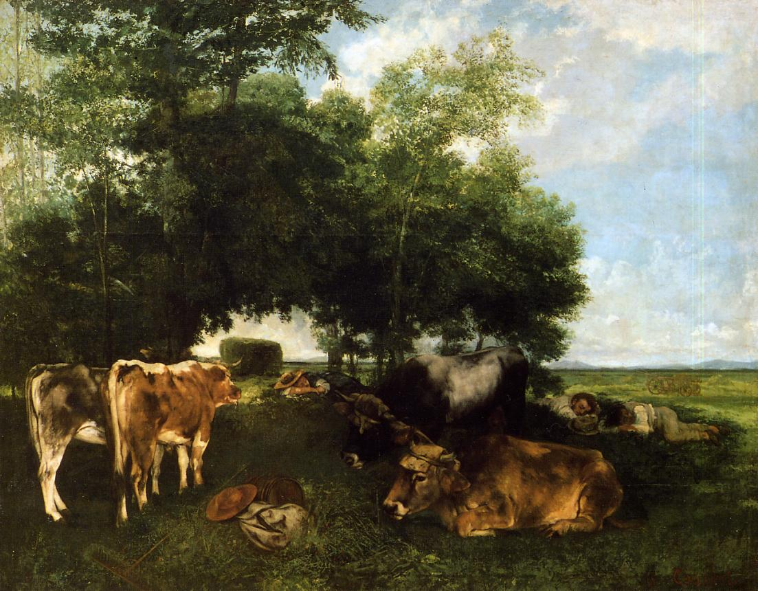 The Rest During the Harvest Season (aka Mountains of the Doubs) 1867 | Gustave Courbet | Oil Painting