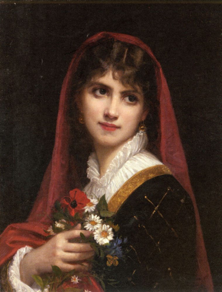 A Young Beauty Wearing A Red Veil | Gustave Doyen | Oil Painting