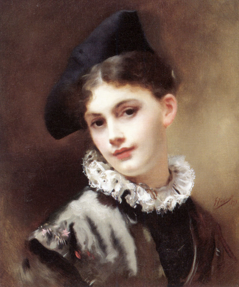 A Coquettish Smile | Gustave Jacquet | Oil Painting