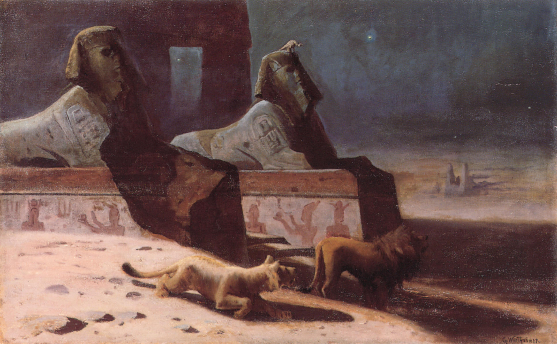 Lions et Sphinx | Gustave Wertheimer | Oil Painting