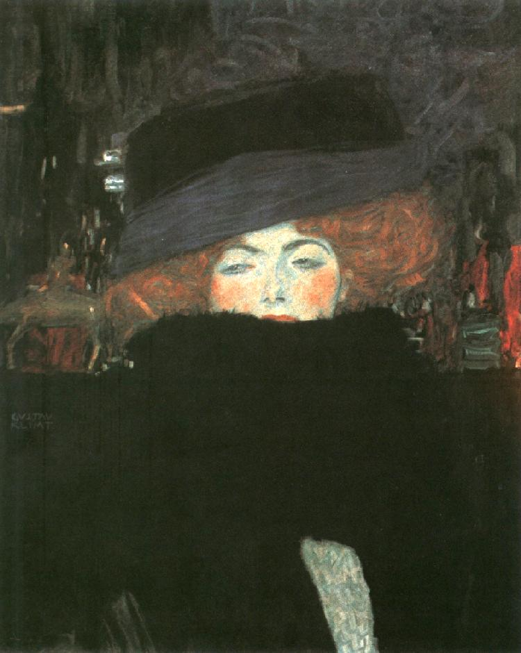 Lady with a Hat and the Feather Boa | Gustav Klimt | Oil Painting