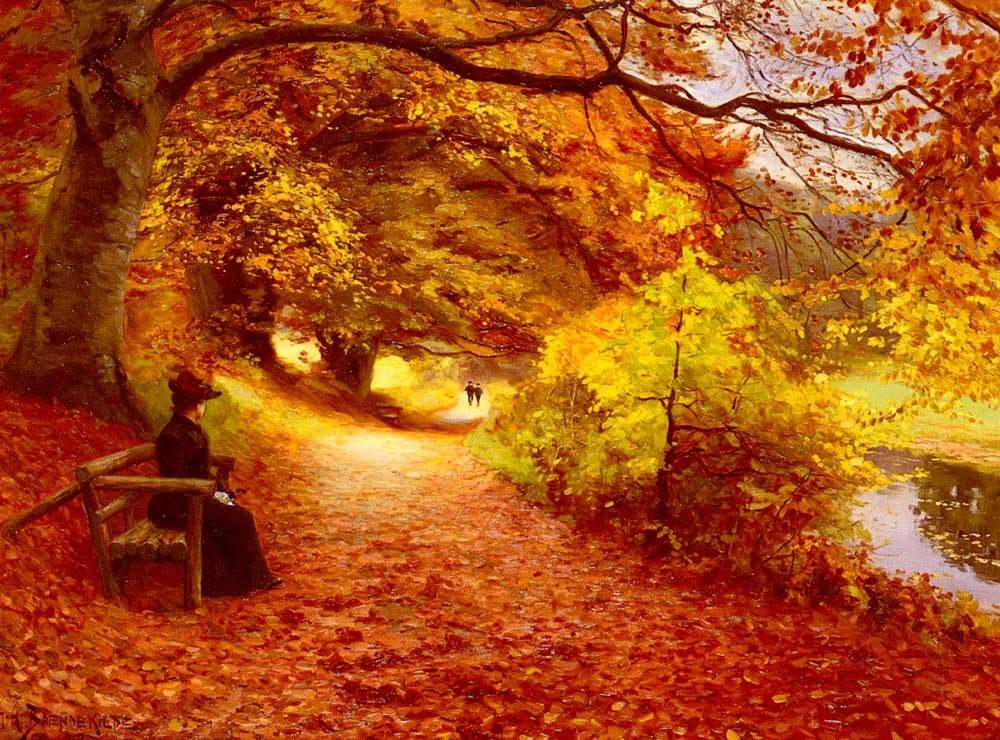 A Wooded Path In Autumn   Hans Anderson Brendekilde   Oil Painting