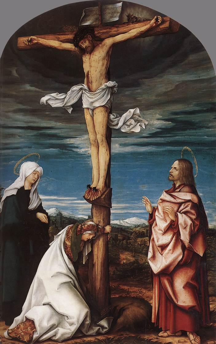 Crucifix With Mary Mary Magdalen And St John The Evangelist 1519 | Hans Burgkmair | Oil Painting