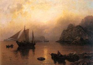 Fishing Party At Sunrise | Hans Fredrik Gude | Oil Painting