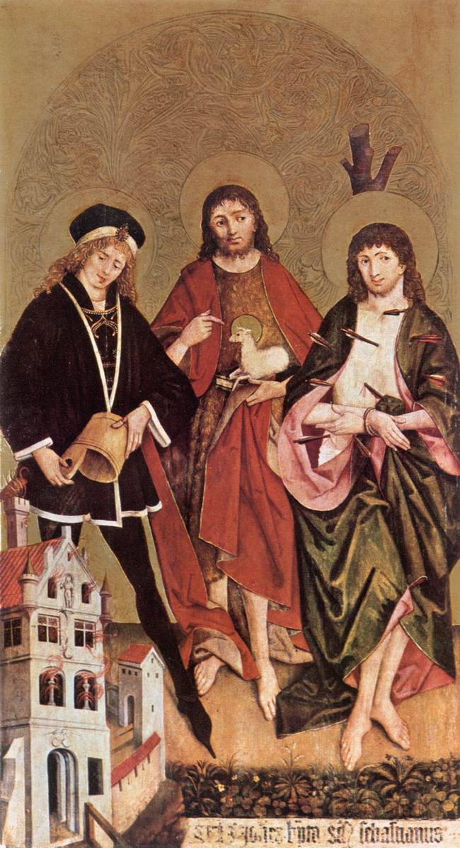 St Florian John the Baptist and Sebastian 1480 | Hans II Strigel | Oil Painting
