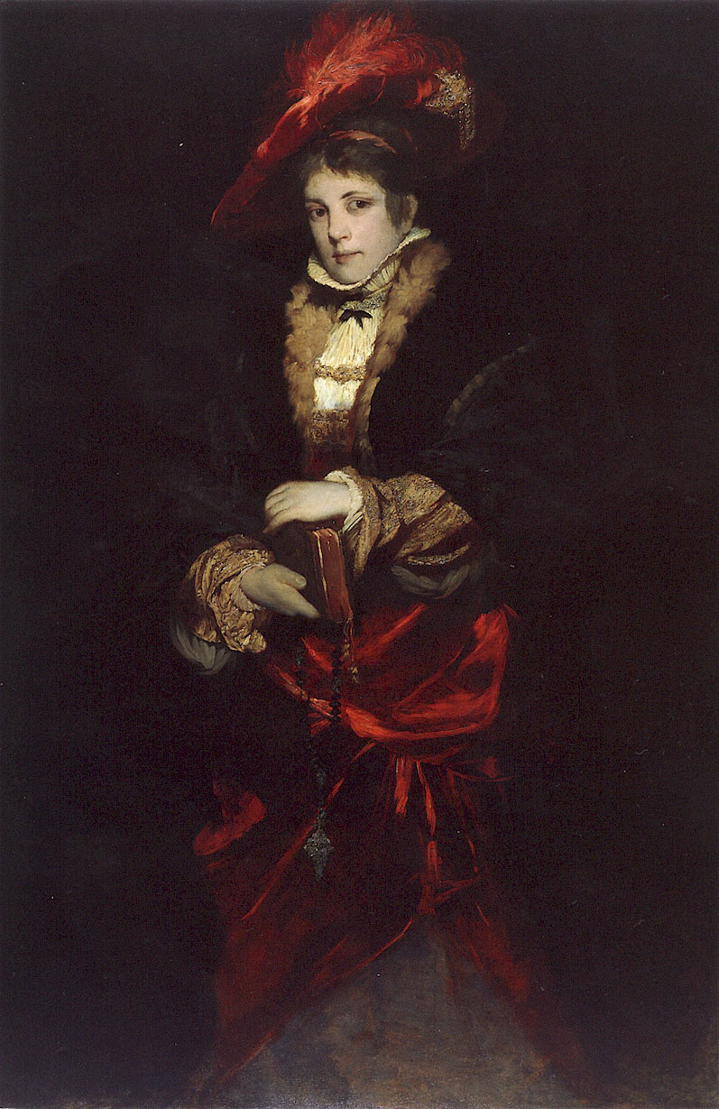 Portrait of a Lady with Red Plumed Hat | Hans Makart | Oil Painting