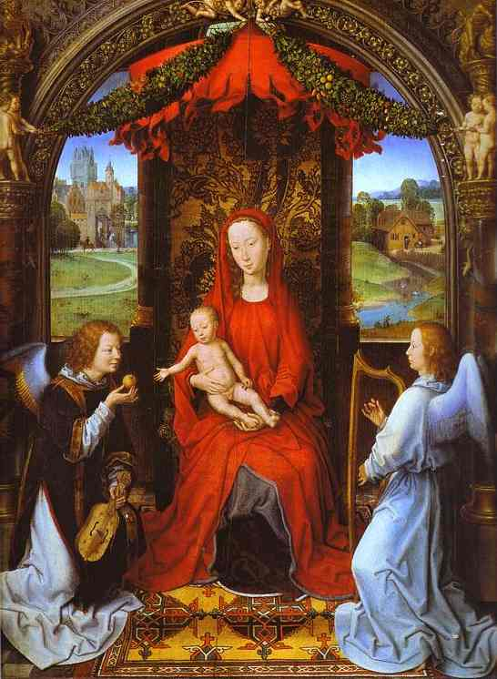 Madonna And Child With Two Angels | Hans Memling | Oil Painting