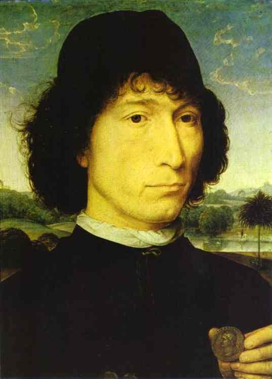 Portrait Of An Italian With A Roman Coin (Giovannide Candida) 1470 | Hans Memling | Oil Painting