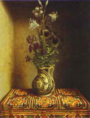 Still Life With A Jug With Flowers The Reverse Side Of The Portrait Of A Praying Man 1480-1485 | Hans Memling | Oil Painting