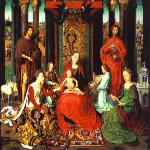 The Mystic Marriage Of St Catherine (Central Panel Of The St John Altar) 1474-1479 | Hans Memling | Oil Painting