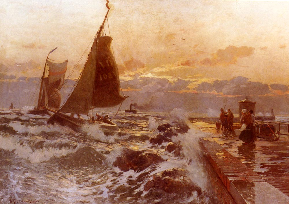 Sailing Ships Returning in Heavy Seas | Heinrich Petersen-Angeln | Oil Painting