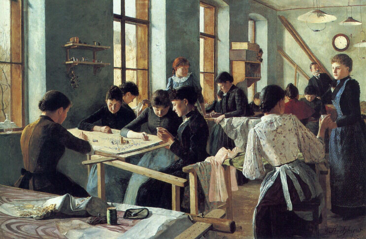 Ladies Embroidering in a Workshop | Heinrich Strehblow | Oil Painting