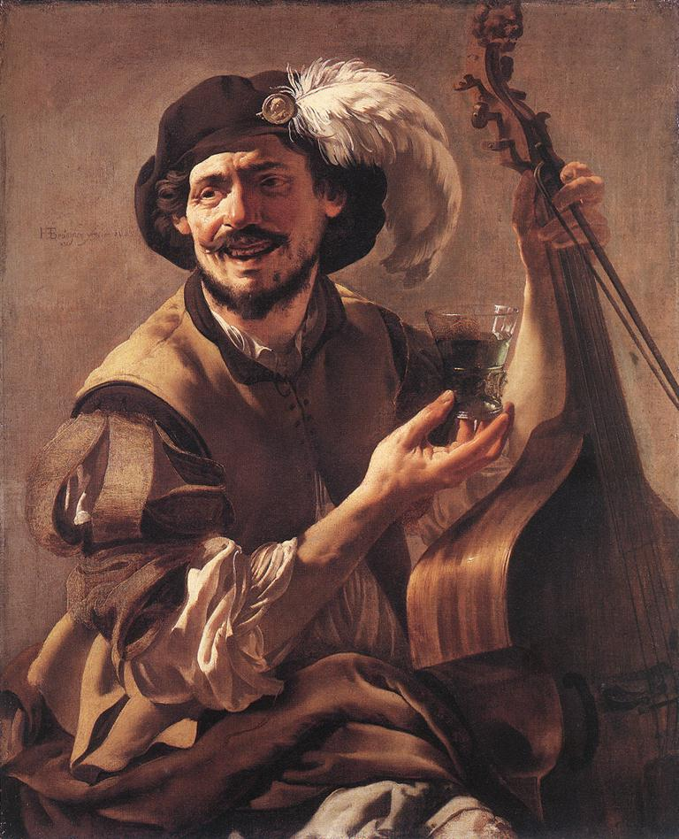 A Laughing Bravo With A Bass Viol And A Glass 1625 | Hendrick Terbrugghen | Oil Painting