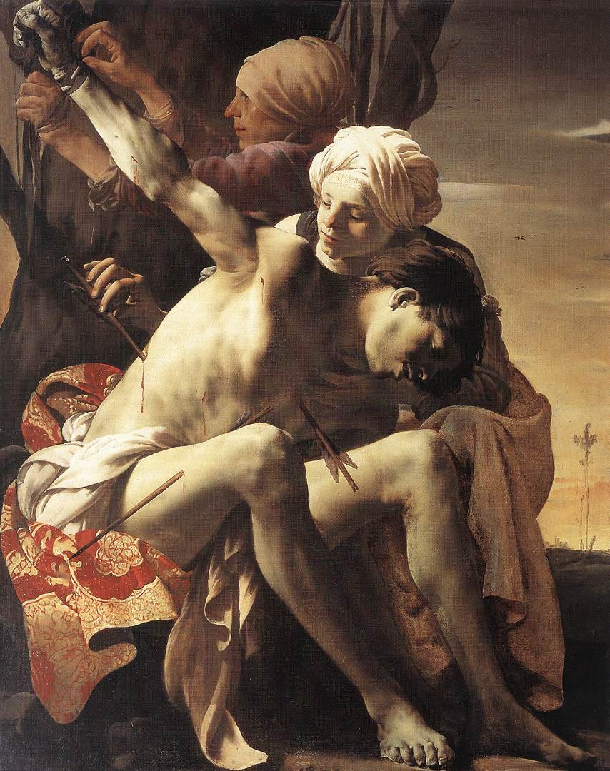 St Sebastian Tended By Irene And Her Maid 1625 | Hendrick Terbrugghen | Oil Painting