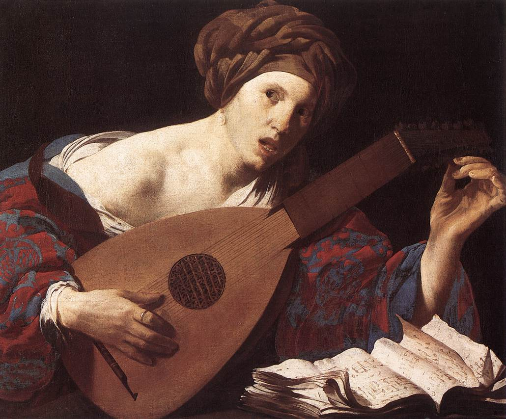 Woman Playing The Lute 1624-26   Hendrick Terbrugghen   Oil Painting