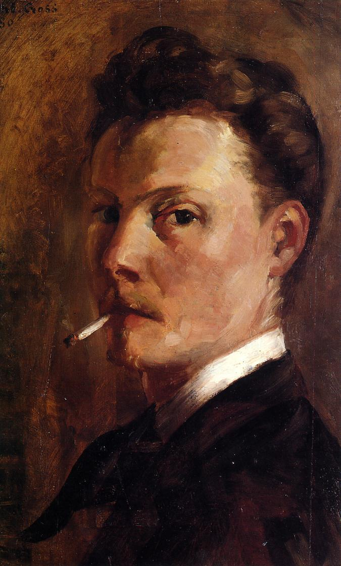 Self Portrait with Cigarette 1880 | Henri Edmond Cross | Oil Painting