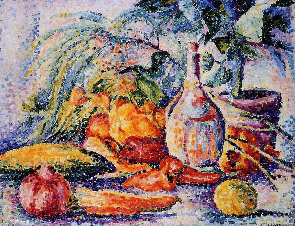 Still Life with Bottle of Wind 1904 | Henri Edmond Cross | Oil Painting