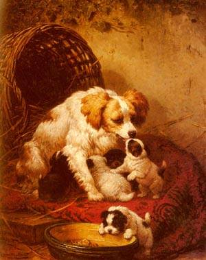 The Happy Family | Henriette Ronner-Knip | Oil Painting