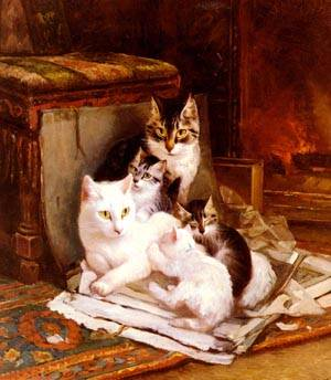 The Happy Litter   Henriette Ronner-Knip   Oil Painting