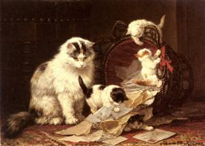 De Snippermand   Henriette Ronner-Knip   Oil Painting