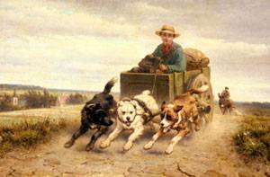 The Dog Cart   Henriette Ronner-Knip   Oil Painting