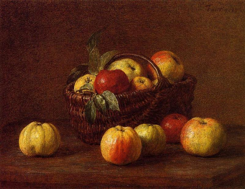 Apples in a Basket on a Table 1888 | Henri Fantin Latour | Oil Painting