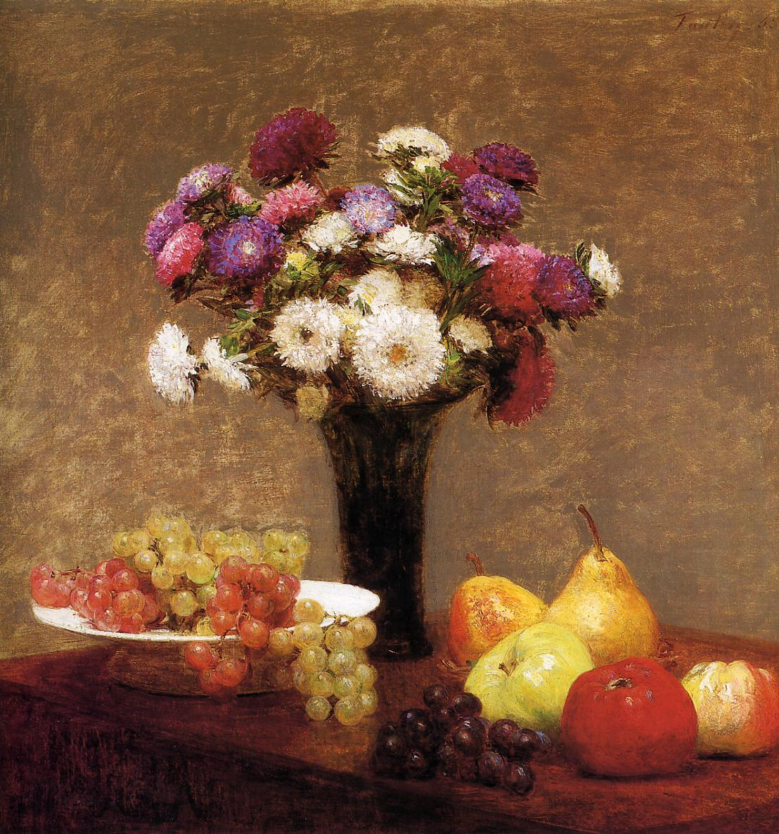 Asters and Fruit on a Table 1868 | Henri Fantin Latour | Oil Painting
