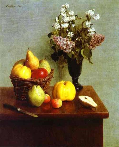 Fleurs De Printemps Pommes Et Poires 1866 | Henri Fantin-Latour | Oil Painting