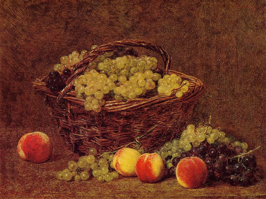 Basket of White Grapes and Peaches 1895 | Henri Fantin Latour | Oil Painting