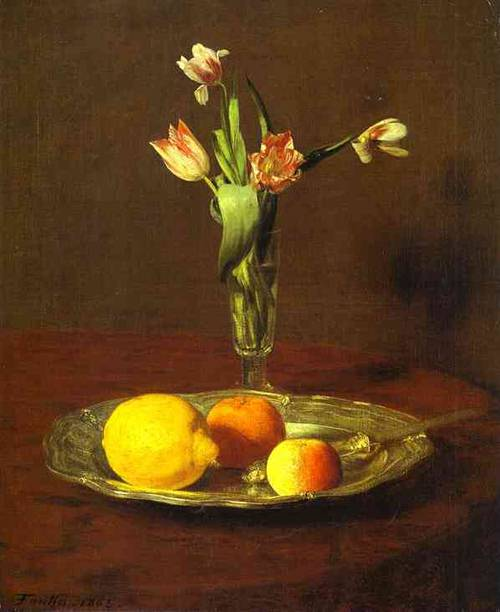 Lemons Apples And Tulips (Citron Pommes Et Tulipes) 1865 | Henri Fantin-Latour | Oil Painting