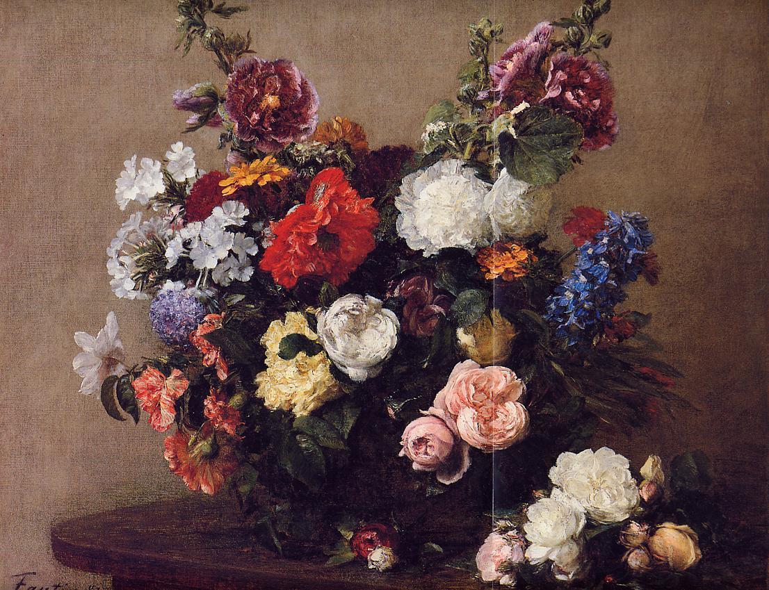 Bouquet of Diverse Flowers 1881   Henri Fantin Latour   Oil Painting